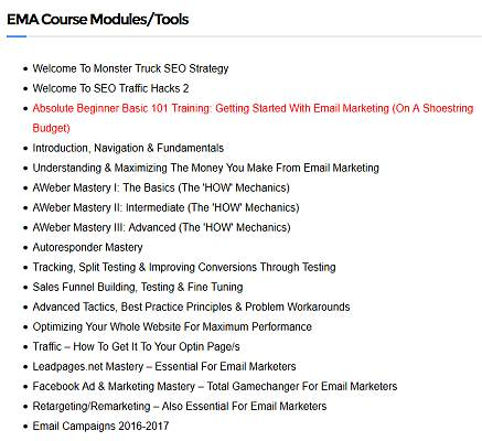 Topics covered in the email marketing academy
