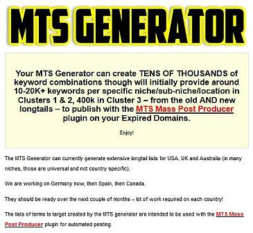 MTS keyword generator tool