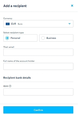 use this box to add the recipient account
