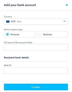 fill in this box to add your bank account