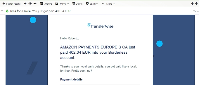 Email from transferwise informing me of amazon payment