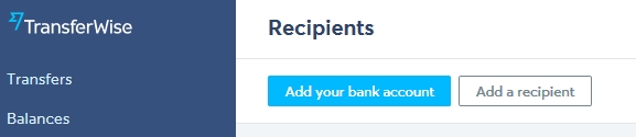 The two options of information you need to fill to get paid in TransferWise